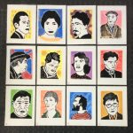 12 individual pieces - 21cm x 30cm - Lino cut and Pastel