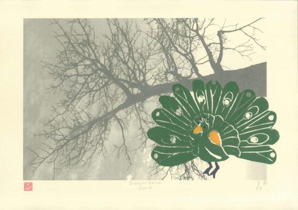 30cm x 43cm - Lino cut on photograph